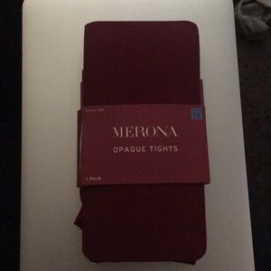 Merona Opaque Tights (Berry Maroon) 1X